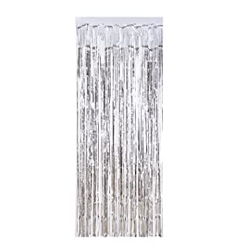 Metallic Foil Fringe Curtains Door Window For Party Decorations Silver