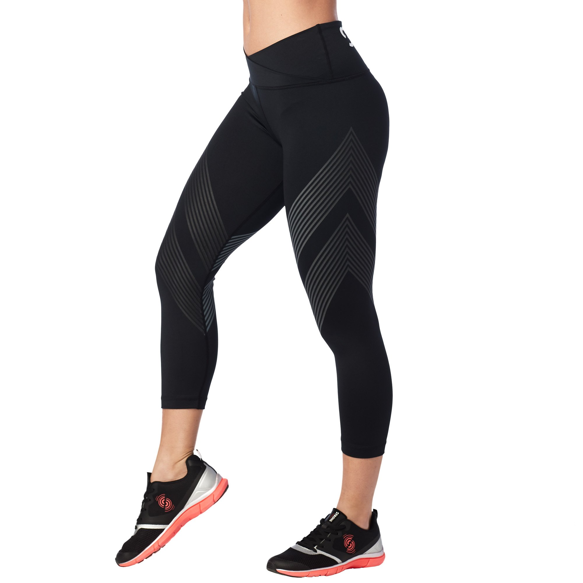 STRONG by Zumba Women's High Waisted Shaping Athletic Performance Cropped Workout Leggings with Compression