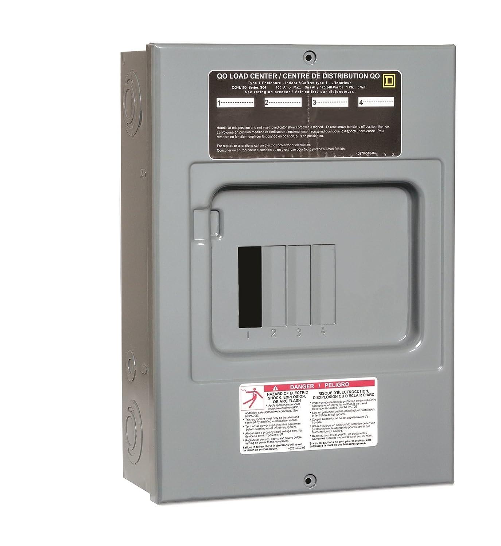 8 Circuits Maximum Schneider Electric QO4L100S Square D Sub Panel Loadcentre with 4 Spaces Grey