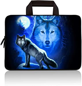 HYUTOTA 11 11.6 12.1 12.5 inch Laptop Carrying Bag Chromebook Case Notebook Ultrabook Bag Tablet Cover Neoprene Sleeve Fit Apple MacBook Air Samsung Google Acer HP DELL Lenovo Asus(Cool Wolf)