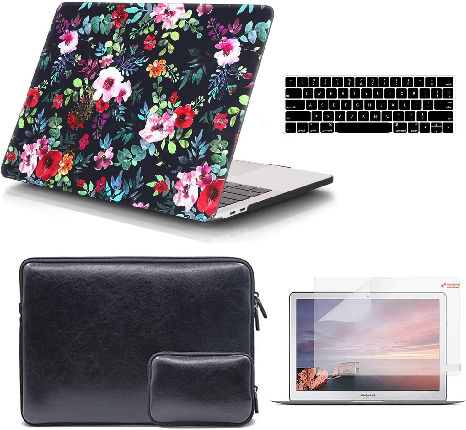 iCasso MacBook Pro 13 inch Case and Waterproof PU Leather Carrying Case with Small Bag, Compatible with MacBook 2019 2018 2017 2016 Release A2159/A1989/A1706/A1708, Plastic Hard Shell Case & Sleeve