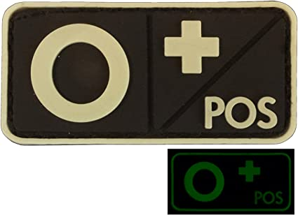 Glow Dark OPOS O Groupe Sanguin Tactical Combat PVC Gomme 3D GITD Hook-and-Loop /Écusson Patch