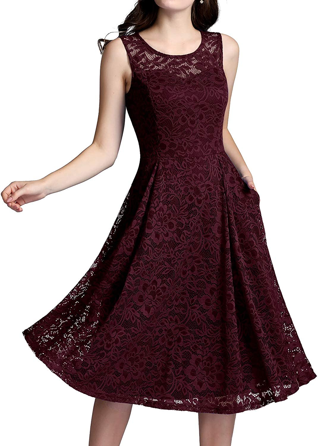 ALAGIRLS Womens Lace Vintage Midi Bridesmaid Dress Tea Length Wedding Formal Party Swing Gowns Pocket