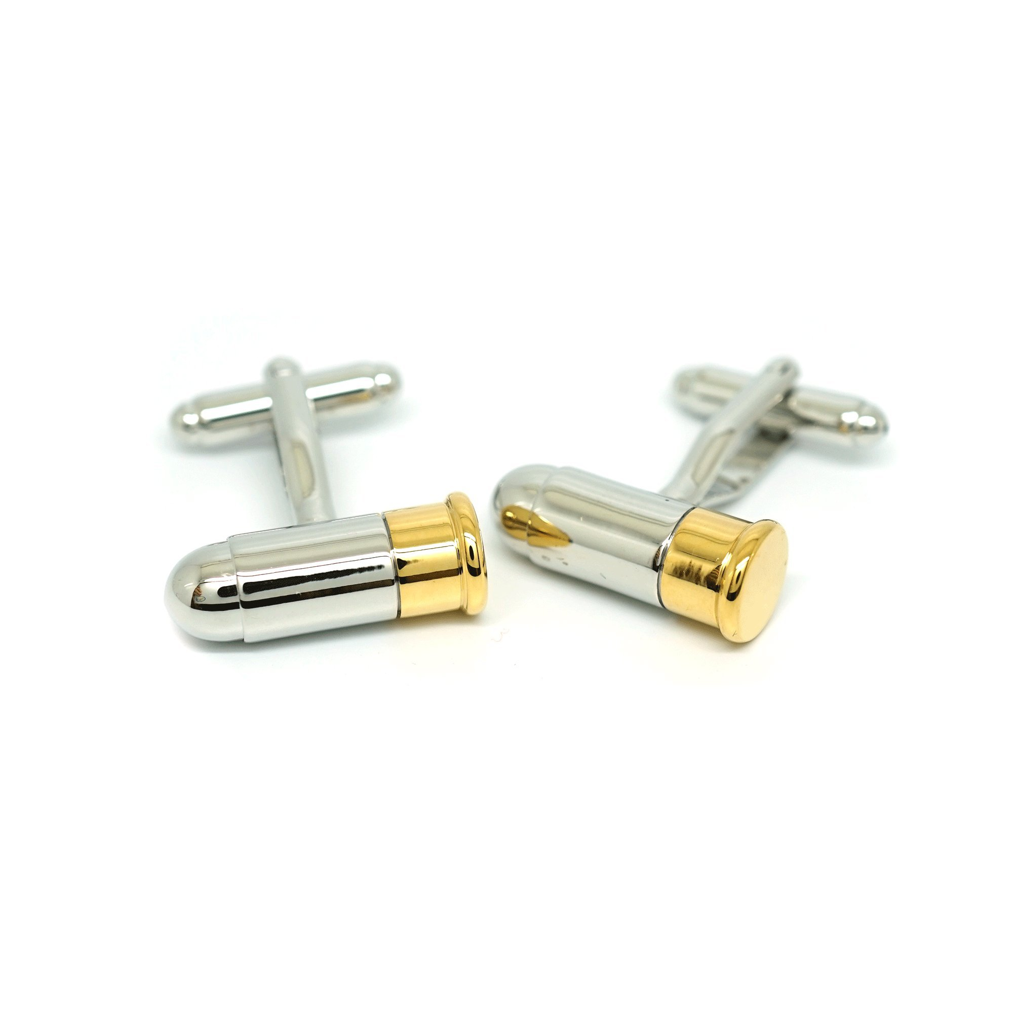 Teri's Boutique Gold Silver Tone Gun Bullet Men's Wedding Party Gift Cufflinks w/ Gift Box (Short)