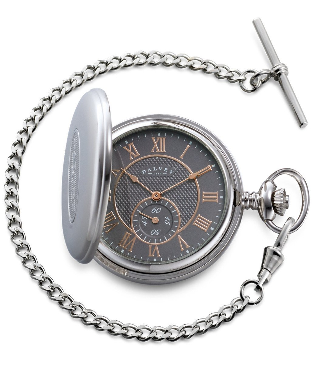 Dalvey Full Hunter Pocket Watch in Grey and Rose Gold