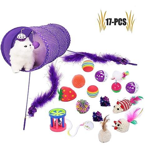 Juego de juguetes para mascotas, túnel para gatos, juguete interactivo de plumas, pelota
