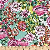 Art Gallery Fabrics Art Gallery Wild Bloom Flower Shower Intense Fabric by the Yard, Mint