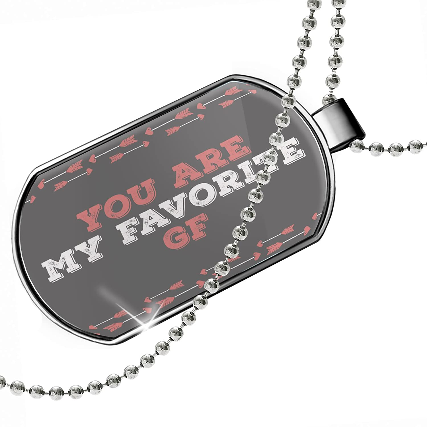 NEONBLOND Personalized Name Engraved You are My Favorite GF Valentines Day Cupids Arrows Dogtag Necklace
