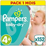 Pampers - Baby Dry - Couches Taille 4+ (9-18 kg/Maxi+) - Pack Economique 1 mois de consommation (x152 couches)