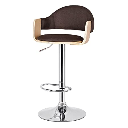 Joveco 360 Degree Swivel Adjustable Semi-open Back Metal and Wood Barstool Coffee fabric