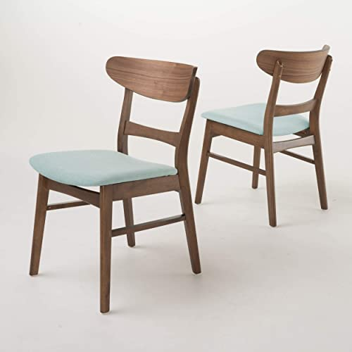 Christopher Knight Home Idalia Walnut Finish Dining Chair Set Of 2 , Mint