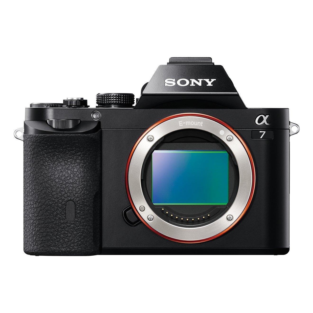 Sony Alpha 7 Fotocamera Digitale Compatta con Obiettivo Intercambiabile, Sensore CMOS Exmor Full-Frame da 24.3 MP, Nero
