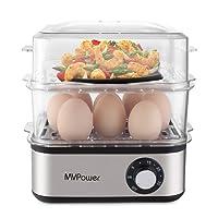 Eierkocher MVPower Doppelschicht Multifunktions elektrische Eierkocher,für 1-16 Eier,Edelstahl Eierkocher,Messbecher mit Eipick