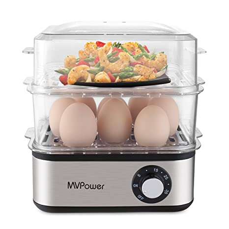 Deluxe Rapid Egg Cooker 16 Capacity Electric Steamer for Hard Boiled, Poached, Omelets, Steamed Vegetables, Seafood & More with Automatic Timing Function
