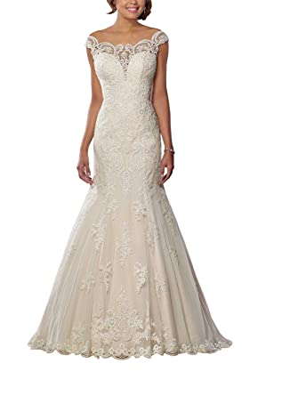 6a8900d6010 Off The Shoulder Wedding Dresses 2019 for Bride Mermaid Lace Applique Open  Back Wedding Gowns Bridal Dress at Amazon Women s Clothing store