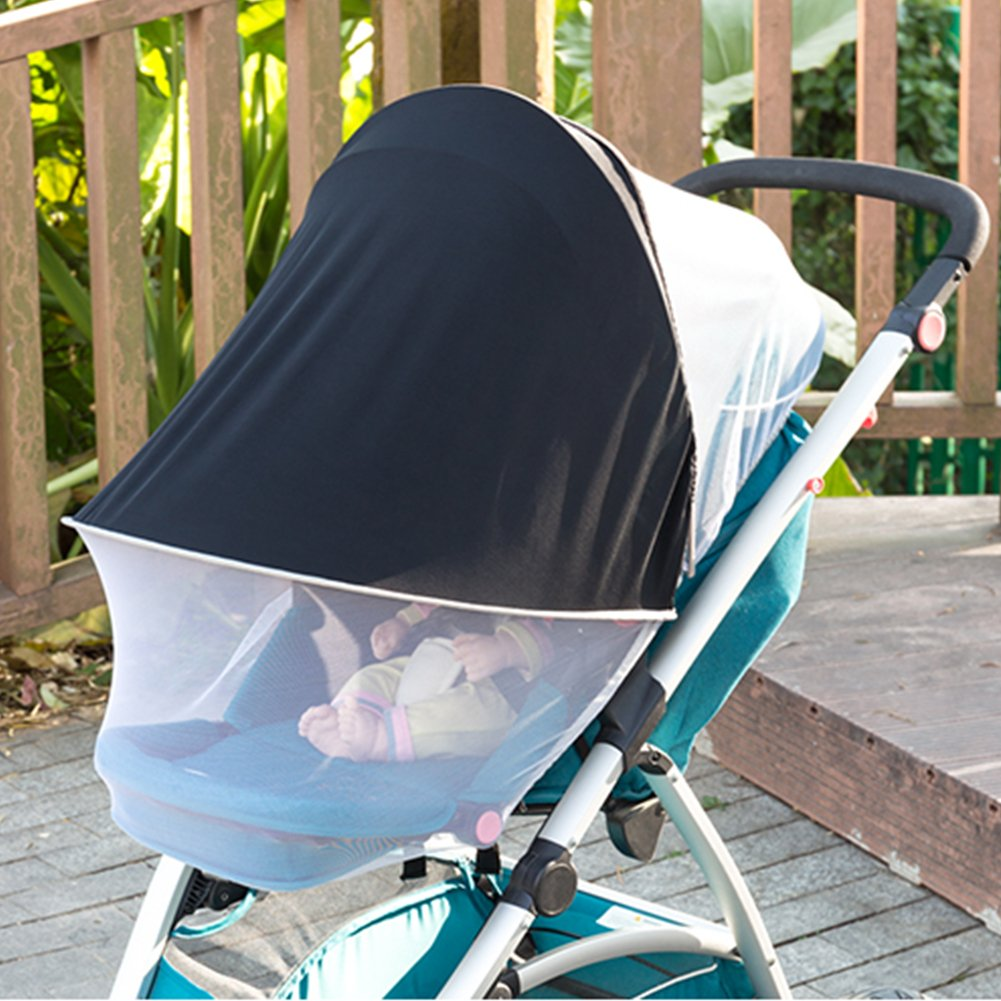 per 2-in-1 Baby Stroller Sun Shade&Mosquito Net Awning Waterproof and Windproof Anti-UV Umbrella Canopy Universal Fit for Stroller by Per