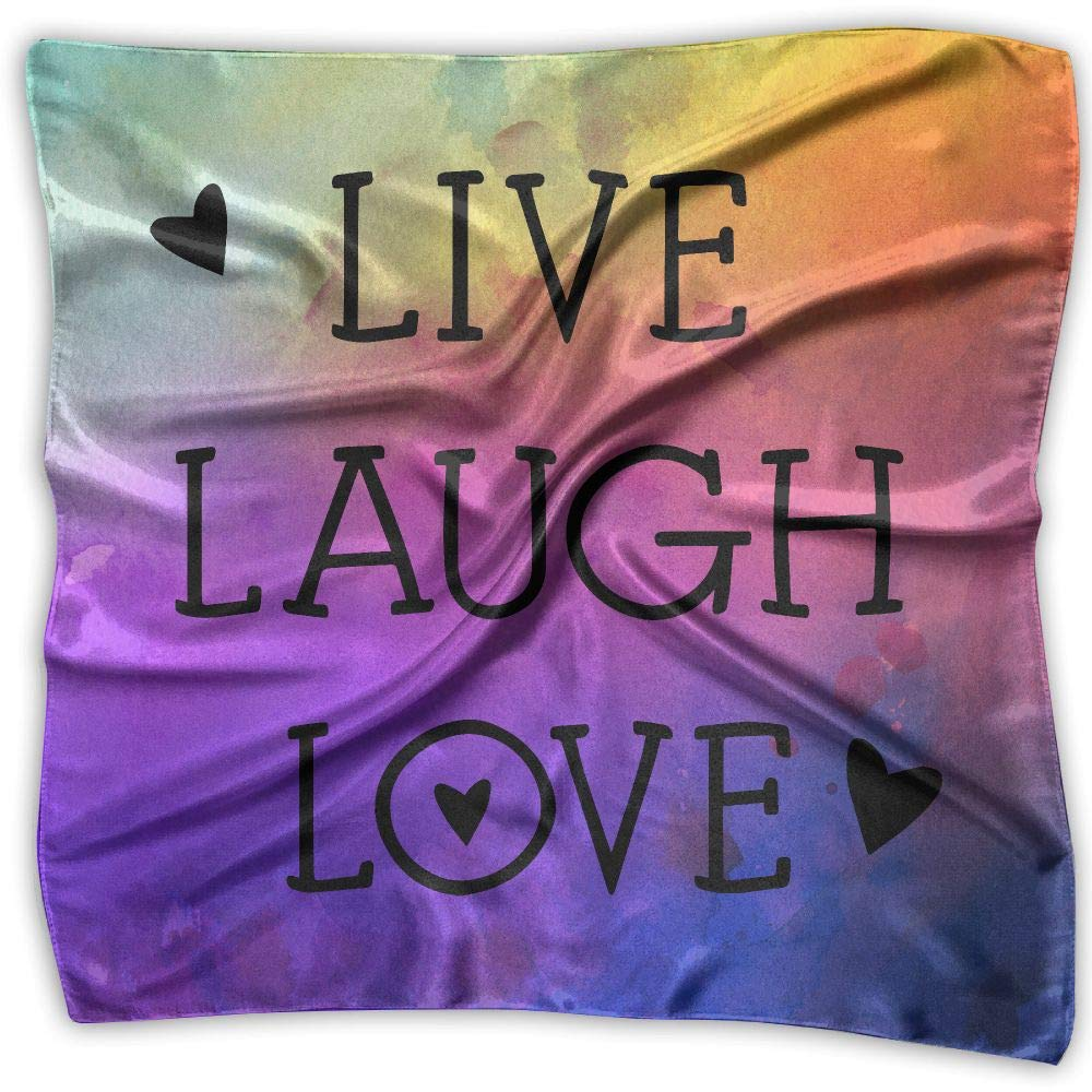 Hearts Live Laugh Love Unisex Silky Scarf Head Wraps Bandana Scarves Set