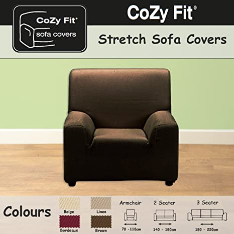 1 SEATER   Easy Stretch Elastic Fabric SOFA / SETTEE SLIP COVER Chocolate  Brown U0027Sofa