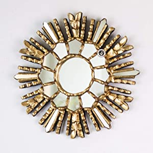 """Gold Round Sunburst Mirror 9.8"""", Ornate Accent Wall Mirror"""" Andes Sun"""", Peruvian Handcarved wood mirror for wall decorative"""