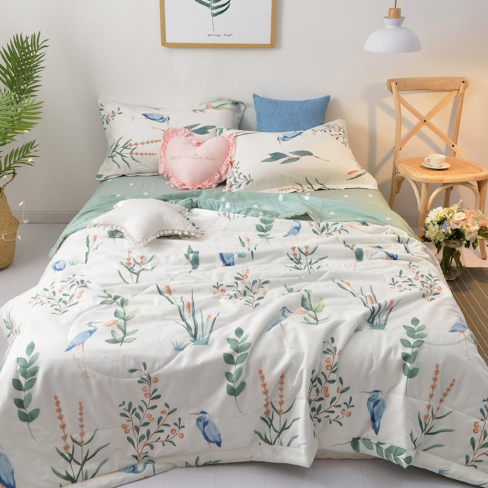 [Newest Arrival] Botanical Thin Summer Quilt Comforter Queen Flamingo Animals Flowers and Green Leaves Floral Garden Pattern Printed on White 100% Cotton Bedding Coverlet Air Conditioning Blankets