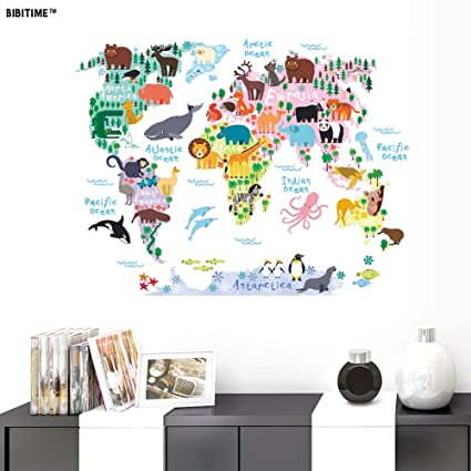 Amazon.com: BIBITIME Kids Animal World Map Wall Decal l Stick ... on world map tree decal, world wall sticker, world map baby nursery, large world map decal, world map box, world map pottery barn decal, world country decals, world map mobile, awesome truck stickers decal, world map bedroom decor, world map engraving, world map skin, world map stencil, giant world map decal, world map family, world map bowl, world map macbook decal, world vinyl paper, world map wallpaper, world map magnet,