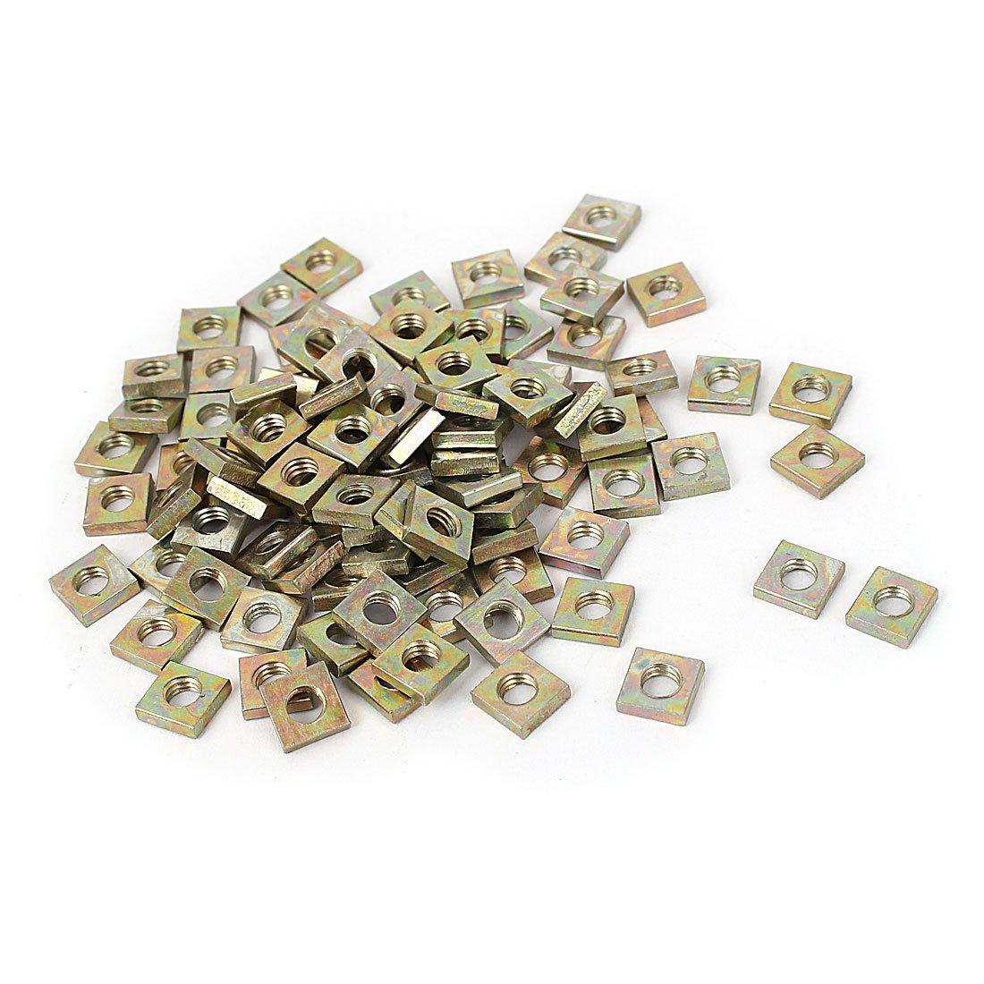 Sourcingmap® M4x7x2mm Yellow Zinc Plated Square Machine Screw Nuts Fastener 100pcs a15122800ux0630