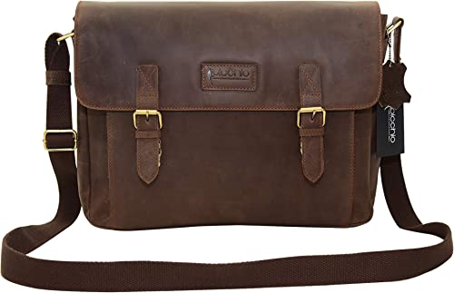 Picchio Men s Genuine Brown Leather 14 Laptop Bag, Satchel Bag, Messenger Shoulder Bag