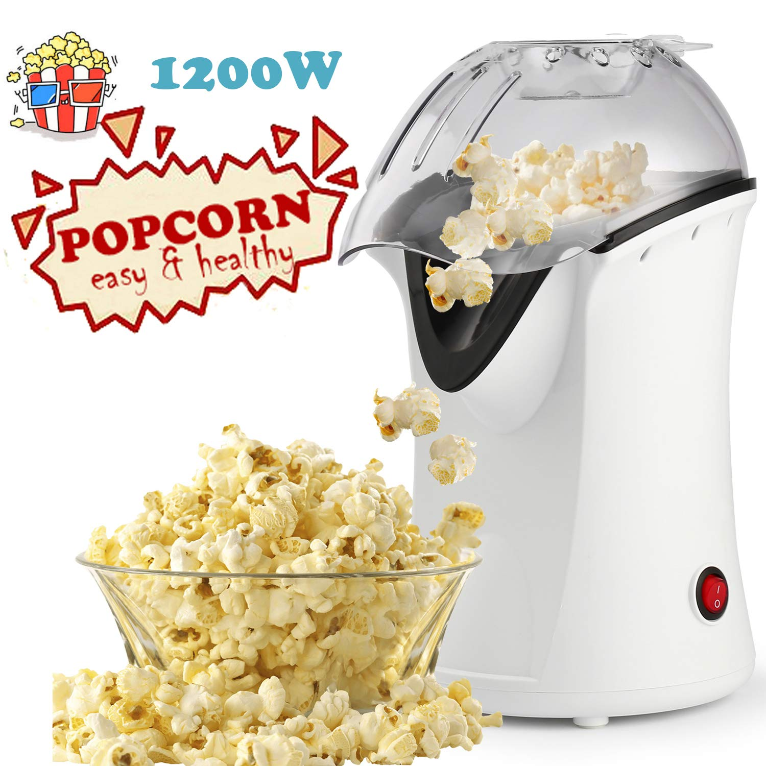 Popcorn Machine 1200W Hot Air Popcorn Popper Electric Maker for Home with On Off Switch, No Oil Needed White