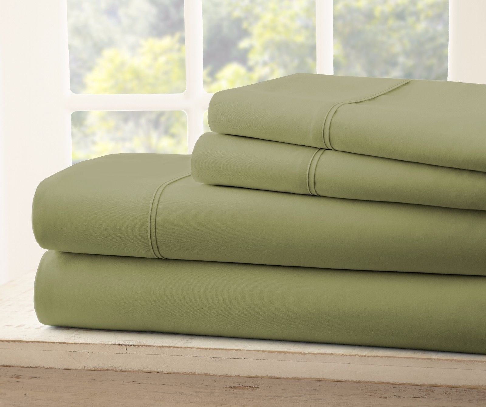 Royal Collection 1900 Split Queen Sheets Egyptian Cotton - Bamboo Quality Bed Sheet Set with 2-30''X 80'' Fitted, 1 Flat and 2 STD P/Cases. Wrinkle Free Shrinkage Free (Split Queen, Sage Green)