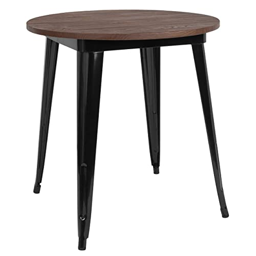 Taylor Logan 26 Inch Round Metal Indoor Table with Walnut Rustic Wood Top, Black