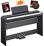 Yamaha P-115 Digital Piano - Black Bundle with Yamaha L-85 Furniture Stand, LP-5A 3-Pedal System, Instructional Book, Austin Bazaar Instructional DVD, and Polishing Cloth