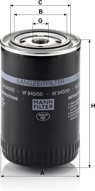 pour v/éhicules particuliers MANN-FILTER W 940//50 Filtre /à huile