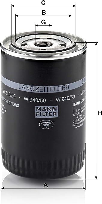 Original Mann Filter Ölfilter W 940 50 Für Pkw Auto