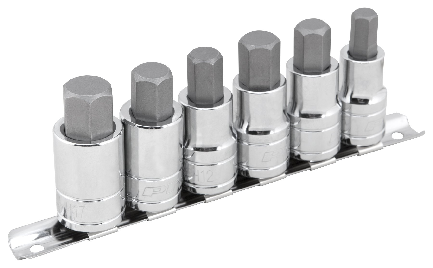 Performance Tool W38886 6 Piece 1/2 Drive Large Hex Bit Socket Set 3/8'', 1/2'', 9/16'', 12 mm, 14 mm, 17 mm, NULL