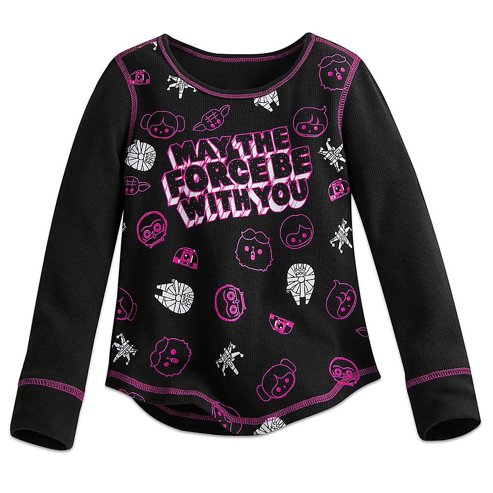 Star Wars May The Force Be With You'' Thermal Tee for Girls Size 5/6 Black by Star Wars (Image #1)