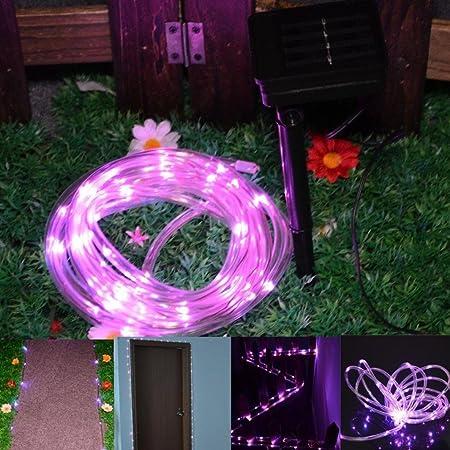 Hunpta - Guirnalda de luces solares para jardín, exteriores, luces solares de jardín, impermeables, para vallas, terrazas, caminos, patio, pérgola (rosa): Amazon.es: Iluminación