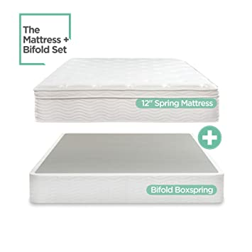 night therapy spring 12 inch euro box top mattress and bifold box spring set queen