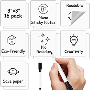 Reusable Dry Erase Sticky Notes, 16 Pack Whiteboard Stickers 3