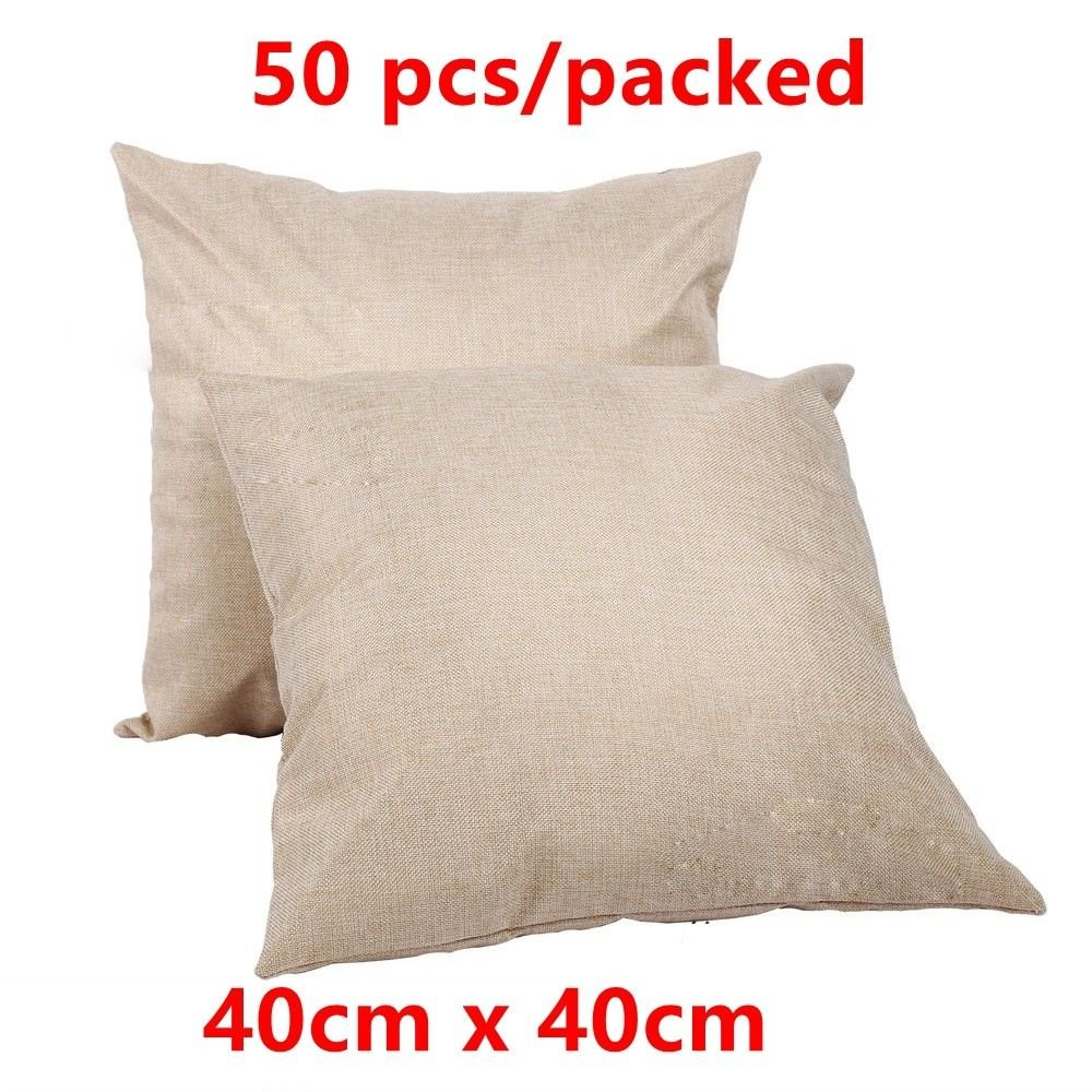 Linen Sublimation Blank Pillow Case Cushion Cover DIY Printing Graphic 16''x16'' 50pcs/packed