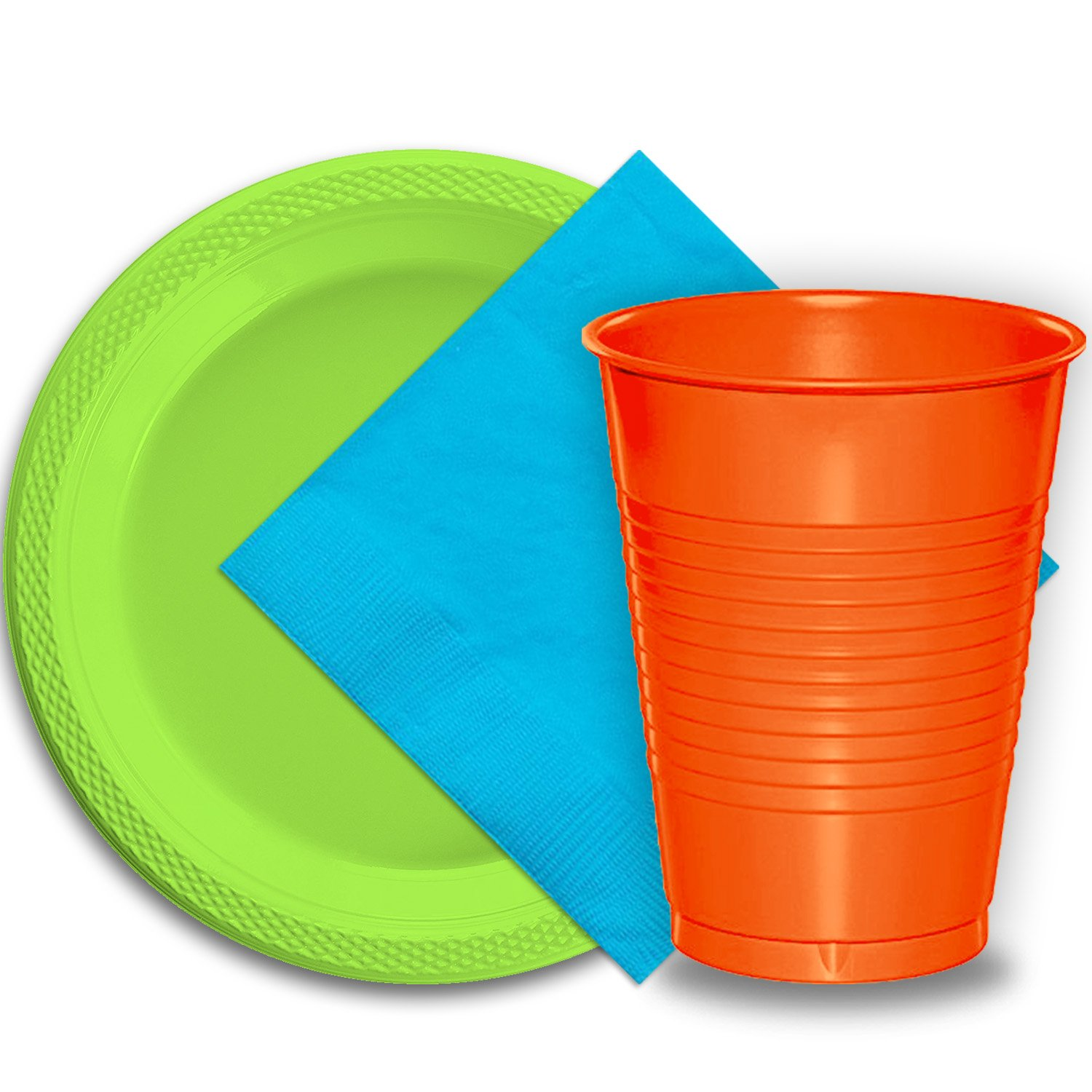 50 Lime Green Plastic Plates (9''), 50 Orange Plastic Cups (12 oz.), and 50 Aqua Paper Napkins, Dazzelling Colored Disposable Party Supplies Tableware Set for Fifty Guests.