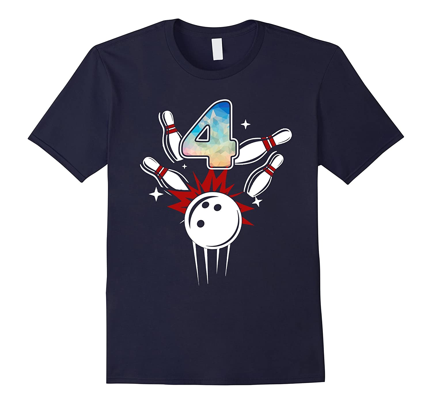 4th Birthday Shirt Kids Happy 4th Birthday 4 Bowling Shirt-Rose
