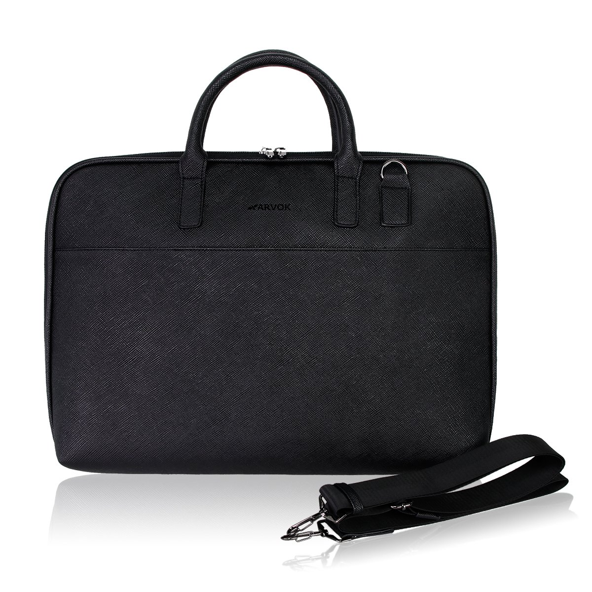 Arvok 15-16 Inch PU Leather Laptop Bag with Handle & Shoulder Strap Water-resistant Notebook Computer Case/Ultrabook Briefcase Carrying Sleeve, Black