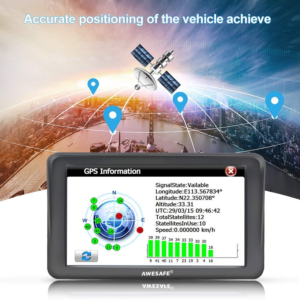awesafe Sat Nav for Cars GPS Navigation System 7 inch 8GB 256MB Car Satellite Navigator Device with Sunshade