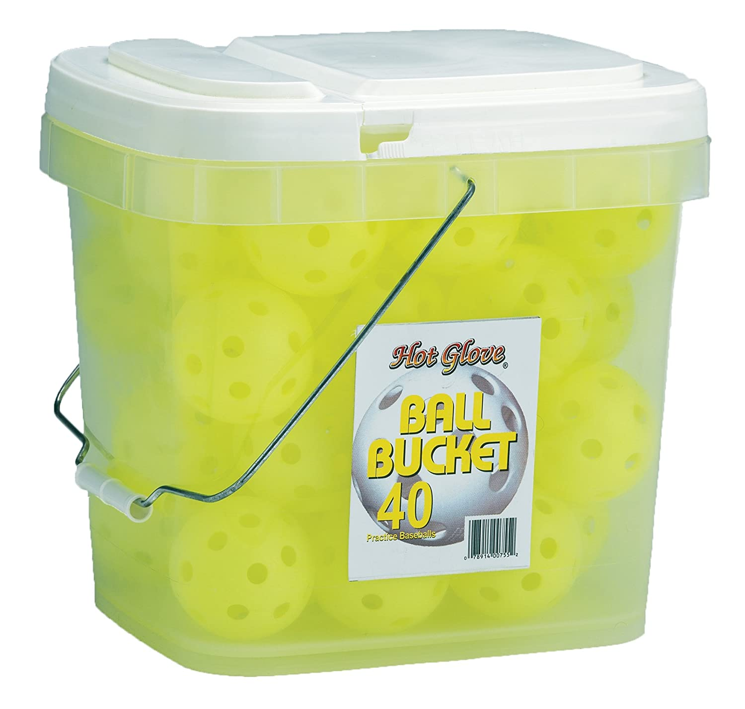 Hot Glove Optic Yellow Practice Baseballs Bucket of 40 Balls BBP-40-OY