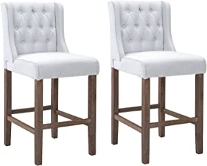 """HOMCOM 40"""" Tufted Wingback Counter Height Armless Bar Stool Dining Chair Set of 2, Cream White"""