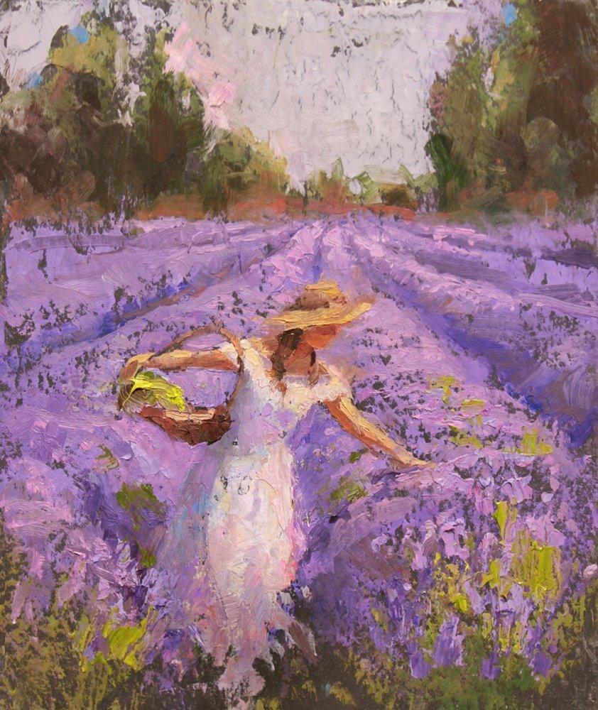 8x10 Lavender Field & Woman - Landscape Wall Art Print - Field of Purple Flowers Decor Artwork - Floral Painting