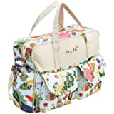 MG Collection Fashion Beige Jungle Animals Top Handle Travel Baby Bag/Diaper Tote Bag w/Changing Pad