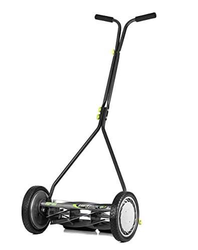 Earthwise 1715-16EW 16-Inch 7-Blade Push Reel Lawn Mower, Gray Silver Green