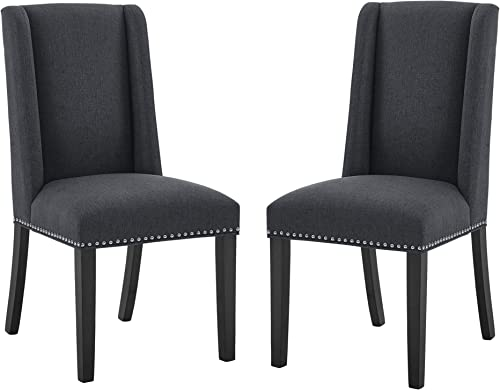 poplarbox Set of 2 Tufted Dining Chairs Upholstered Fabric Dining Chairs Parsons Kitchen and Dining Chair