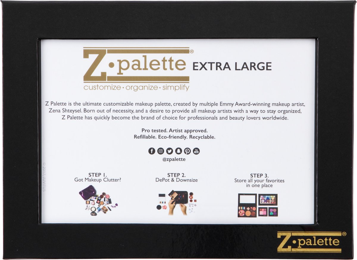 Z Palette Extra Large Black and Red Palette With 20 Metal Stickers - Limited Edition